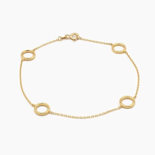 Pulsera de círculos lisos en oro amarillo - 0064 - 1