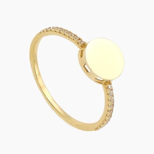 Sortija de oro amarillo con circonitas blancas - 3992
