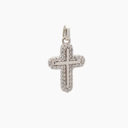 Cruz latina de oro blanco y circonitas - 9041