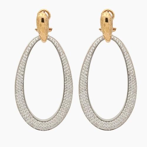 Pendientes ovalados en plata con oro rosa y circonitas - 0166 - 1