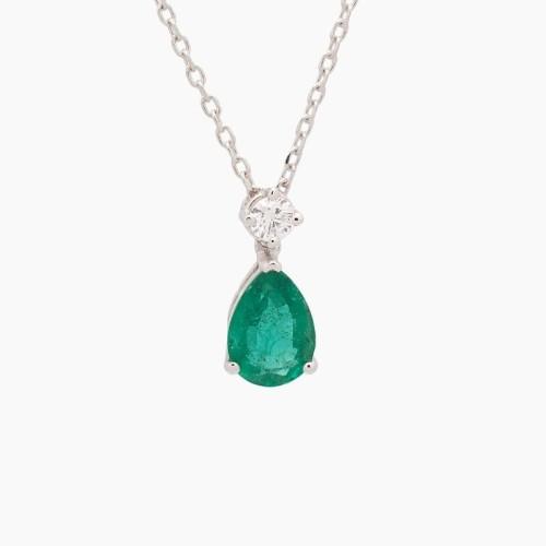 Gargantilla de oro blanco con esmeralda y diamante - 1