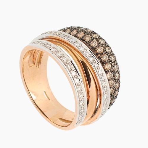 Sortija de oro blanco y rosa con diamantes - 1