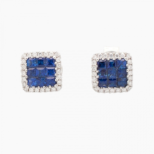 Pendientes en oro blanco, zafiros y diamantes - 1