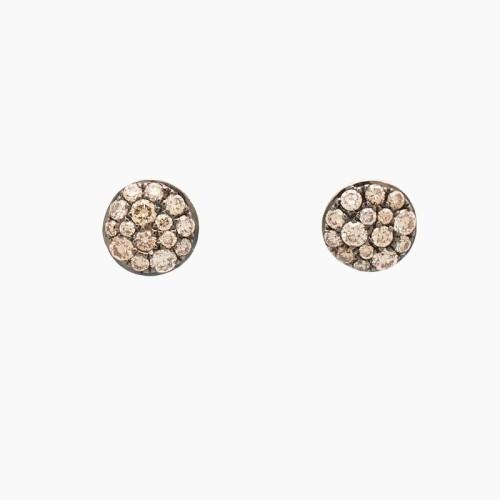 Pendientes de oro rosa con diamantes brown - 1