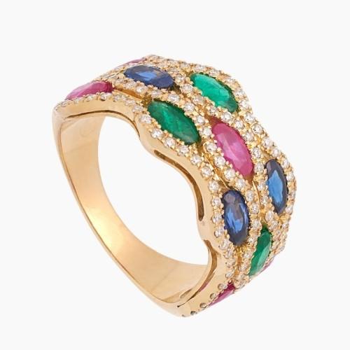 Sortija de oro con diamantes, rubíes, zafiros y esmeraldas - 1