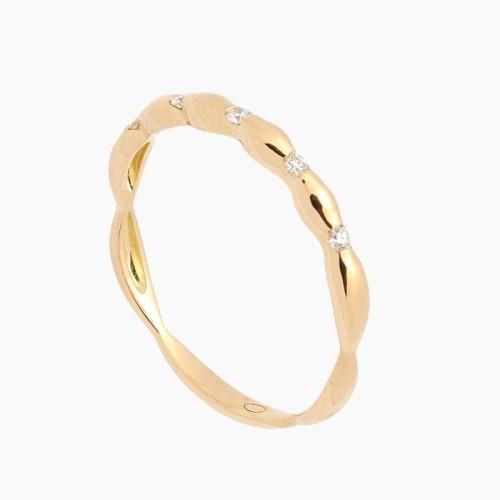 Sortija de oro amarillo con diseño en ondas y diamantes - 1