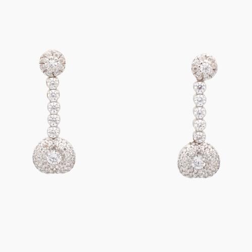 Pendientes largos de oro blanco y circonitas - 0244 - 1