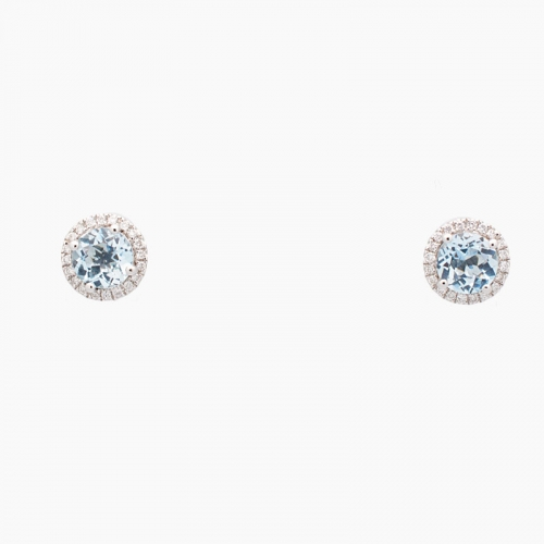 Pendientes de oro blanco con diamantes y aguamarinas - 9444 - 1