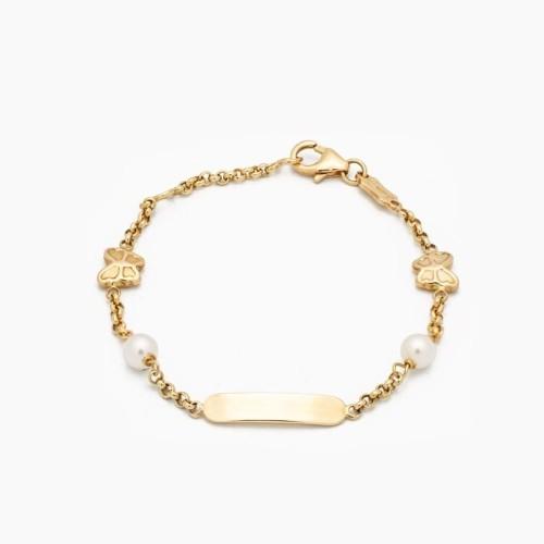 Esclava para bebé en oro con perlas - 1
