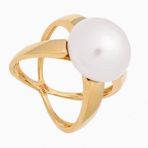 Sortija de  oro amarillo con perla abotonada - 1