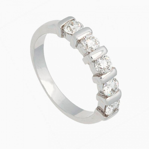 Sortija con diamantes blancos en talla brillante - 1