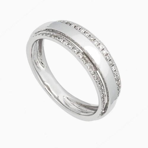 Sortija de oro blanco con diamantes en dos bandas - 1