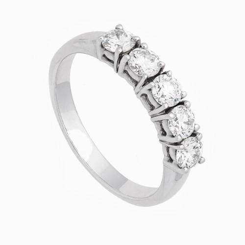 Sortija con cinco diamantes blancos en talla brillante - 1