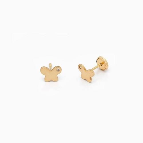 Pendientes de bebé en oro y circonitas en forma de mariposa - 1