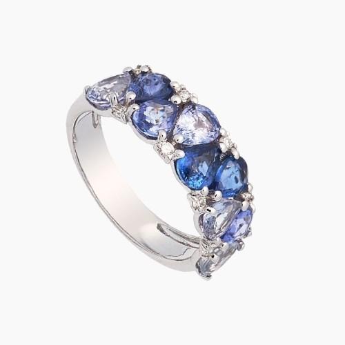 Sortija de oro blanco con zafiros azules y diamantes - 1