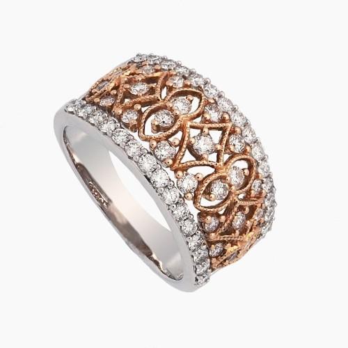 Sortija en oro bicolor y diamantes - 1