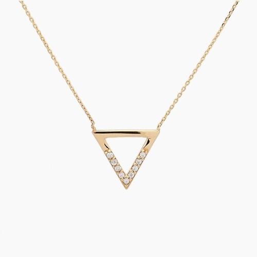 Gargantilla triángulo en oro con circonitas - 1