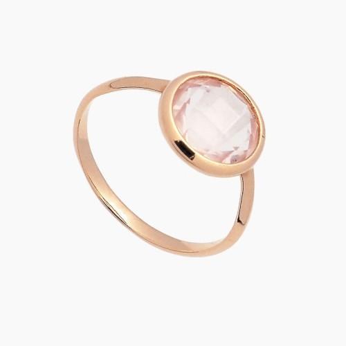 Sortija de oro y piedra rosa - 1