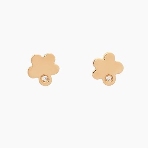 Pendientes de flores en oro con circonitas - 1