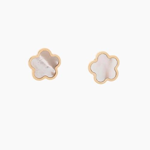 Pendientes de flores en oro y nácar - 1