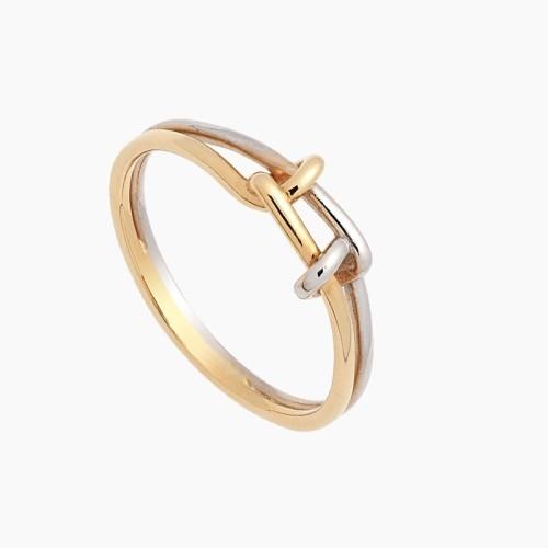 Sortija nudos de oro bicolor - 1