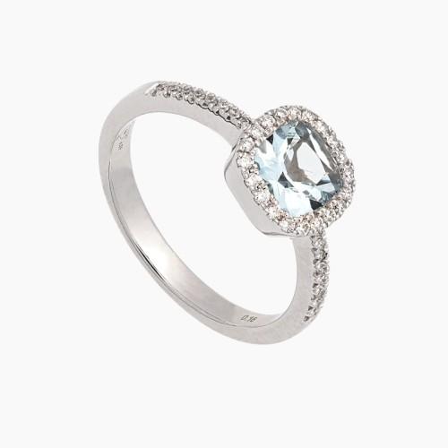 Sortija oro blanco con diamantes y aguamarina - 1