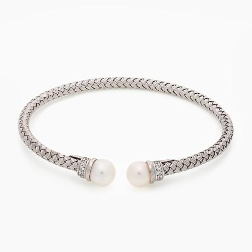 Pulsera rígida de plata con baño de oro y perlas - 1