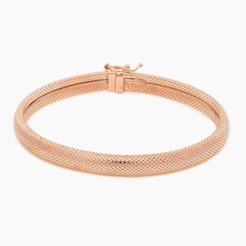 Pulsera rígida de plata con baño de oro rosa - 1