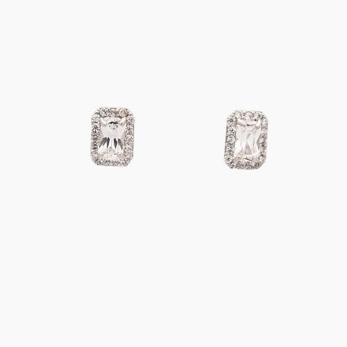 Pendientes rectangulares de oro blanco con circonitas - 2