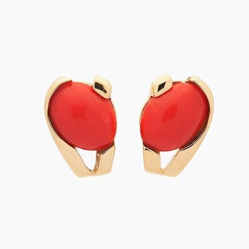 Pendientes de oro amarillo y coral rojo - 1